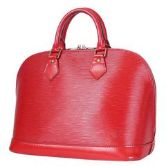 Louis Vuitton Epi Alma Handbag, Tote Red