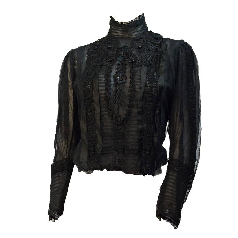 Edwardian Black Mesh Embroidered Blouse with Black Silk Embroidery and Jet Beads For Sale