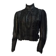 Edwardian Black Mesh Embroidered Blouse with Black Silk Embroidery and Jet Beads