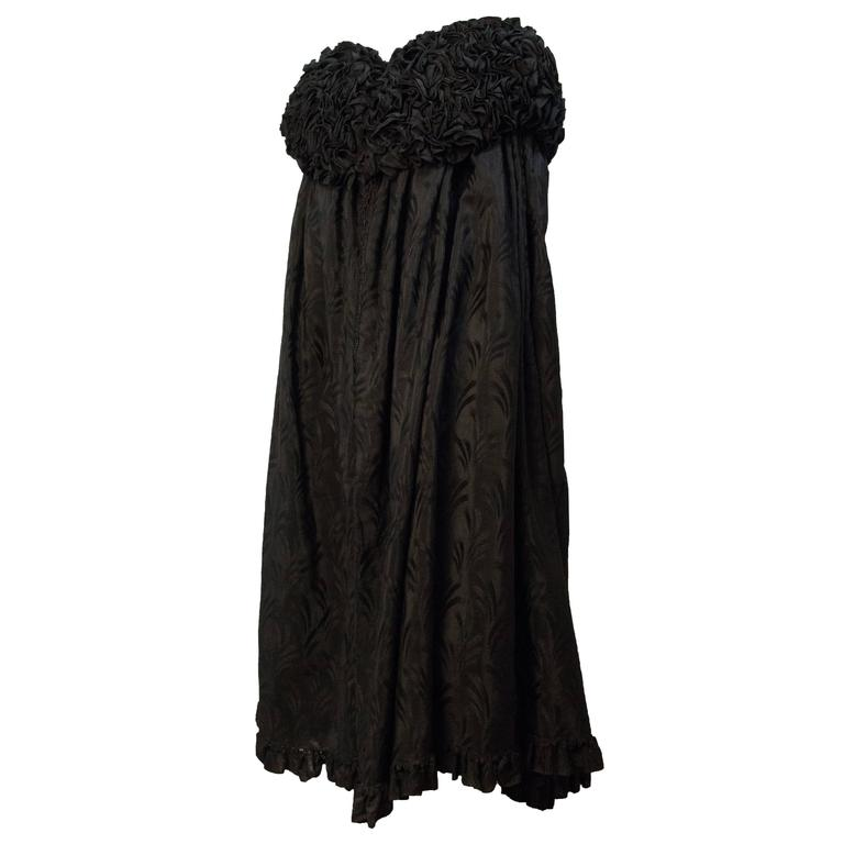 Edwardian Black Brocade Cape with Ruffled Collar   For Sale