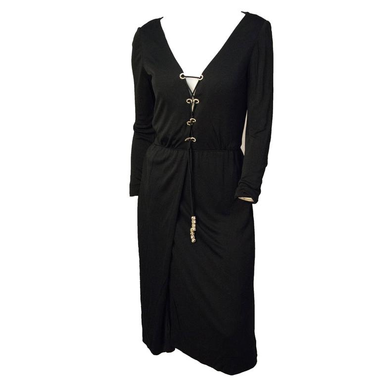 70s Ceil Chapman Black Silk Jersey Dress with Rhinestone Embellishment