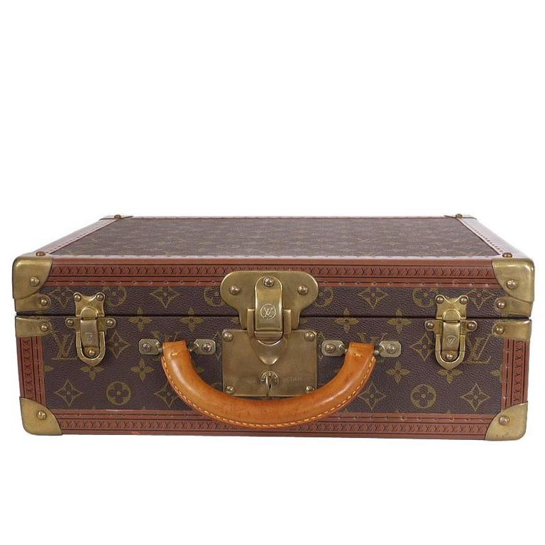 Vintage Louis Vuitton Monogram Cotteville 40 Hard Sided Suitcase  For Sale