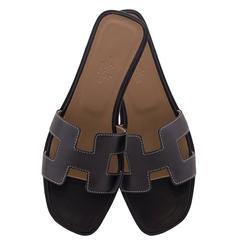 Hermes Woman Sandale Oran Box Moka Piqres Ecrues 36,5 Noir Piqures Ecrues 2016