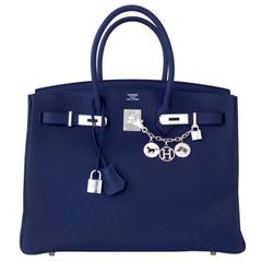 Hermes Navy Blue Nuit Togo 35cm Birkin Palladium Hardware Jewel-Toned Navy