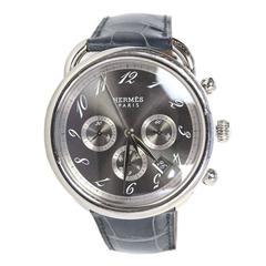 Hermes Men's Arceau Stainless Steel and Blue Alligator Watch
