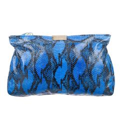 Jimmy Choo Electric Blue Black Snake Leather Envelope Pouch Clutch Bag