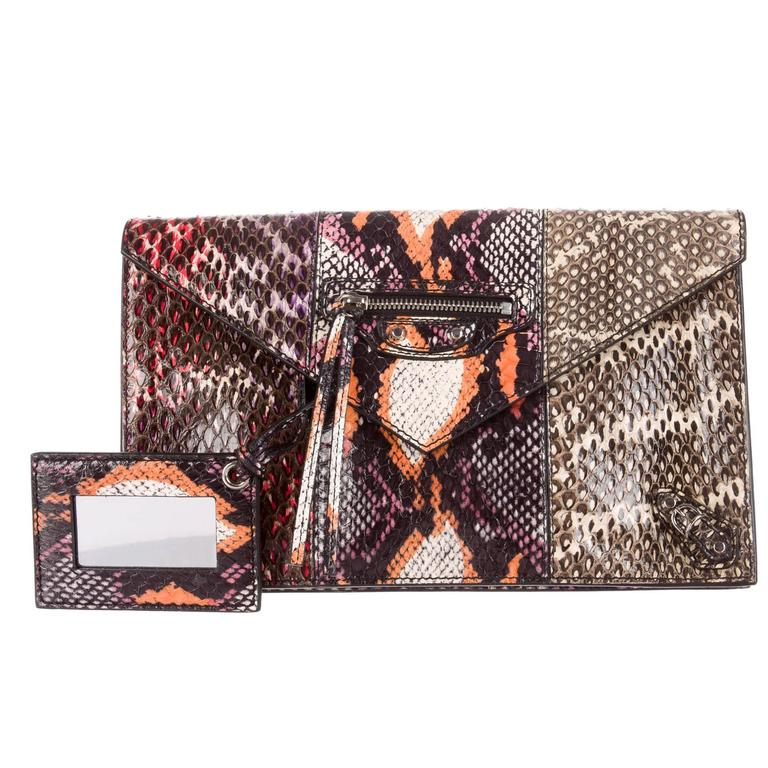 Balenciaga Orange Pink Purple Black Snake Evening Envelope Clutch Bag 1
