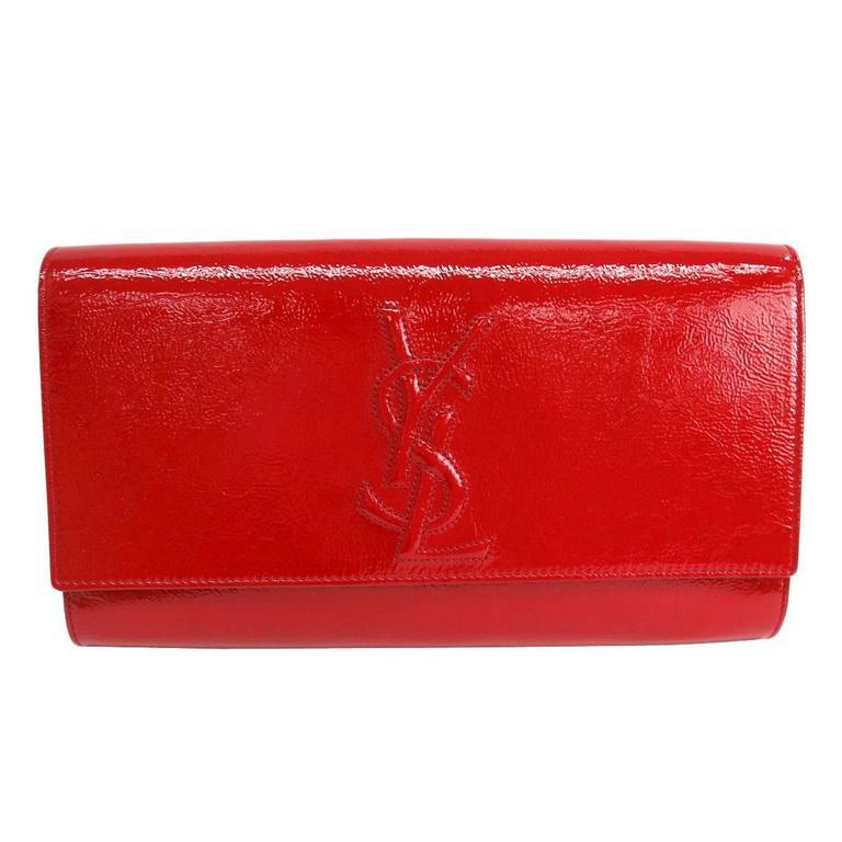 Yves Saint Laurent (YSL) Red Patent Leather Logo Envelope Flap Clutch Bag  For Sale a63edd3104