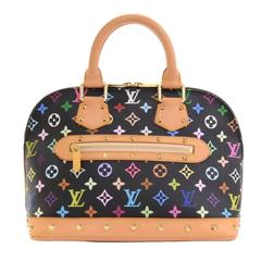 Louis Vuitton Alma Black Multicolor Monogram Canvas Hand Bag