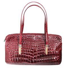 Colombo Milano burgundy croco handbag 1980