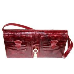 Gorgeous Italian crocodile clutch/handbag c.1970