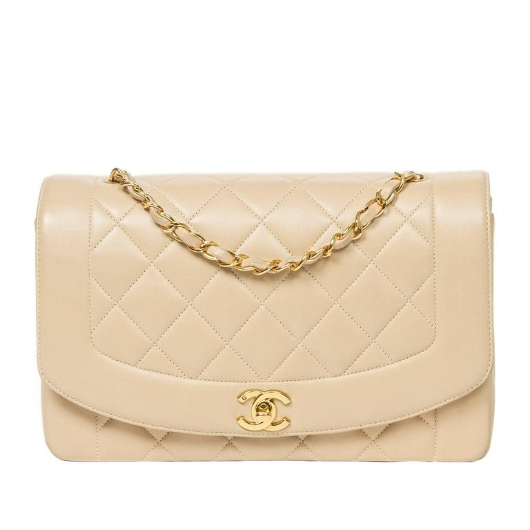 Chanel Vintage Mademoiselle Flap Beige Quilted Leather 1