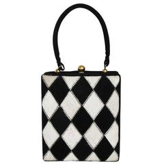 Unique Black and white Arlequin vintage handbag c.1950