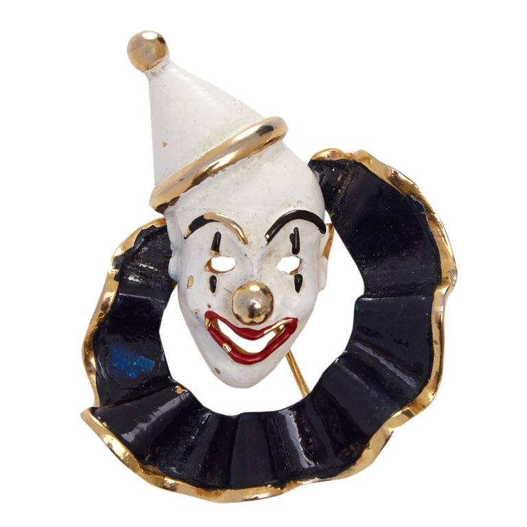 1960s Hattie Carnegie Clown Brooch For Sale
