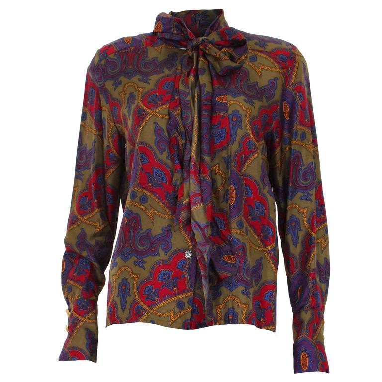 1980s Multicoloured Paisley Print Silk Celine Blouse