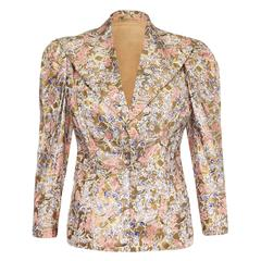 1930s Liquid Gold Floral Printed and Painted Silk Jacket
