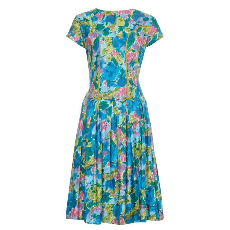1950s Green Floral Cotton Dress