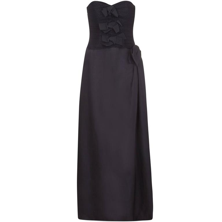 1980s YSL Strapless Black Dress with Bow Details  1