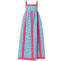 Oscar de la Renta blue & pink printed maxi dress, circa 1968