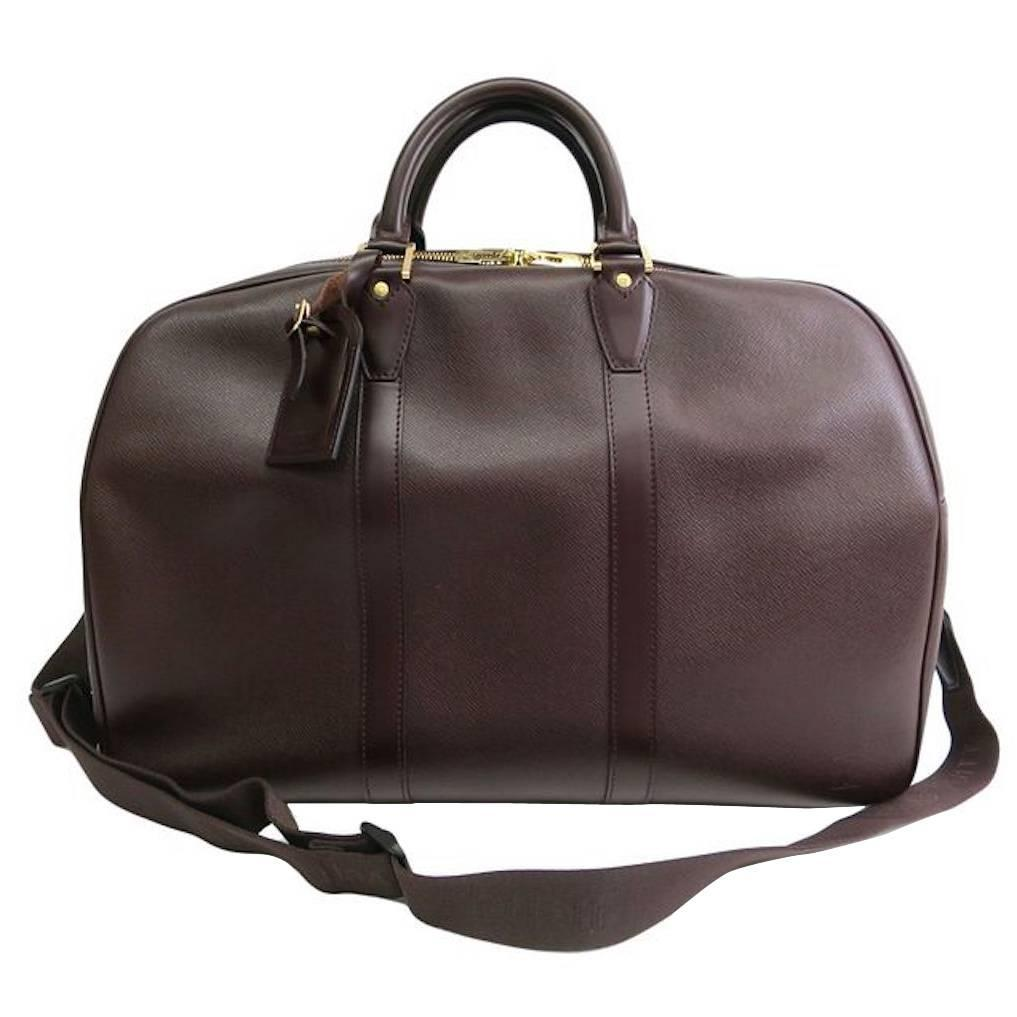 louis vuitton brown leather men 39 s weekender travel duffle bag at 1stdibs. Black Bedroom Furniture Sets. Home Design Ideas
