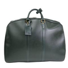 Louis Vuitton Dark Green Leather Men's Weekender Travel Duffle Bag