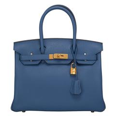 Hermes Bleu Agate Clemence Birkin 30cm Gold Hardware