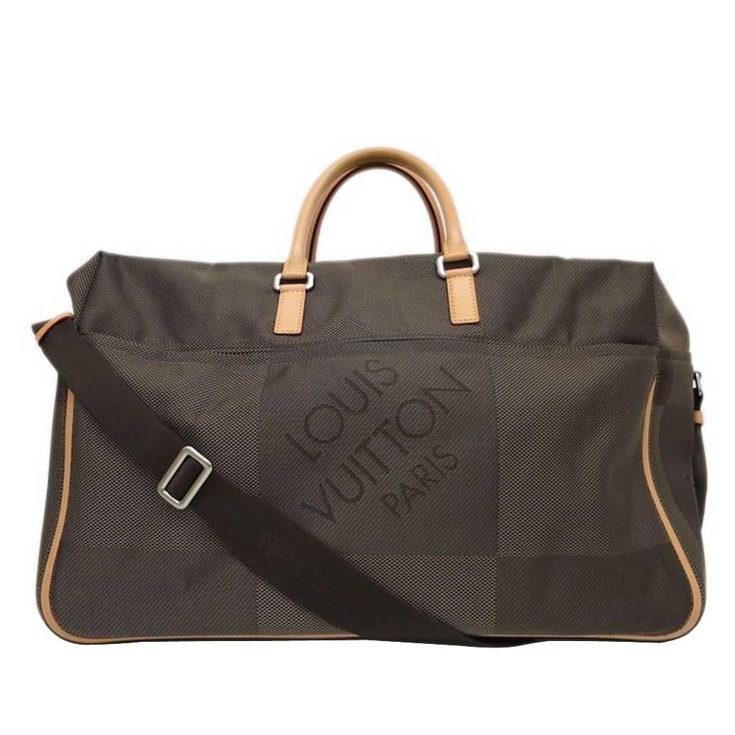 louis vuitton brown canvas leather men 39 s weekender carry on travel duffle bag for sale at 1stdibs. Black Bedroom Furniture Sets. Home Design Ideas
