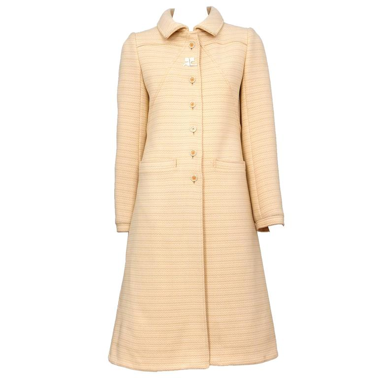 Courreges Peach Wool Coat For Sale At 1stdibs