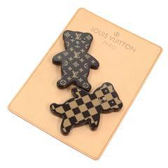 Louis Vuitton Teddy Bear Motif Monogram + Damier Pin Brooch Set