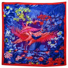 Hermes Carre Twill 100% Soie FLAMINGO PARTY ROUGE-VIOLET