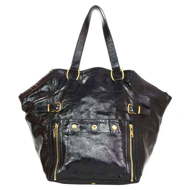 1a5a9b9083d7 Yves Saint Laurent Black Patent Leather Large Downtown Tote with GHW For  Sale at 1stdibs