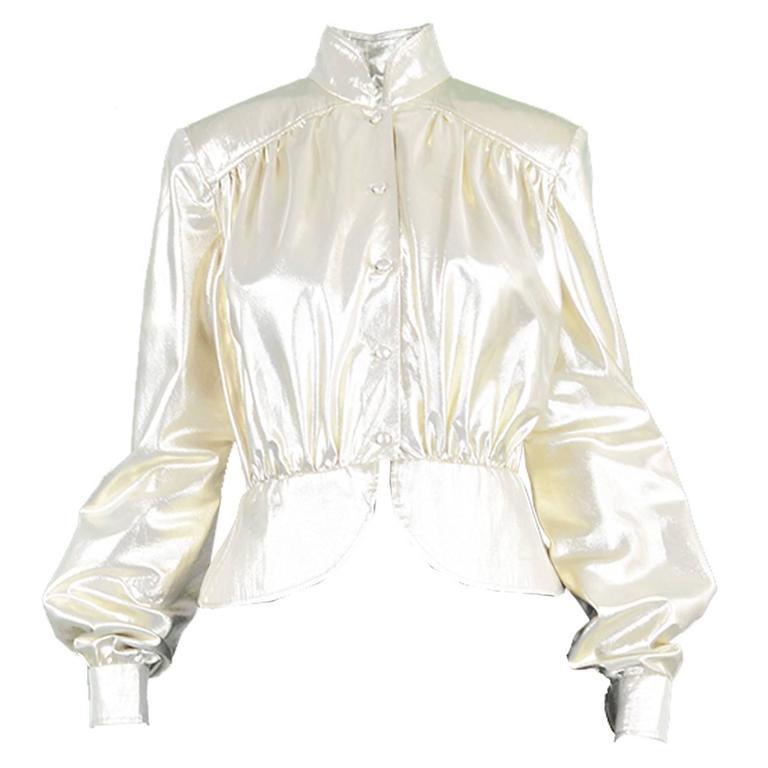 Yuki of London Metallic Pale Gold Lamé Jacket, 1970s For Sale