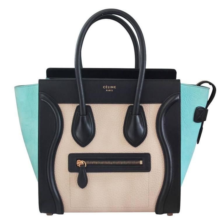 9829ed339aa1 Celine Tricolor Micro Luggage Tote Pebbled Leather   Suede Handbag For Sale