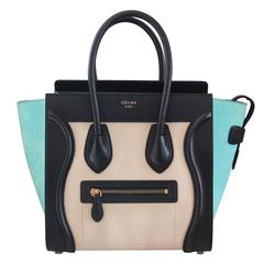 Celine Tricolor Micro Luggage Tote Pebbled Leather & Suede Handbag