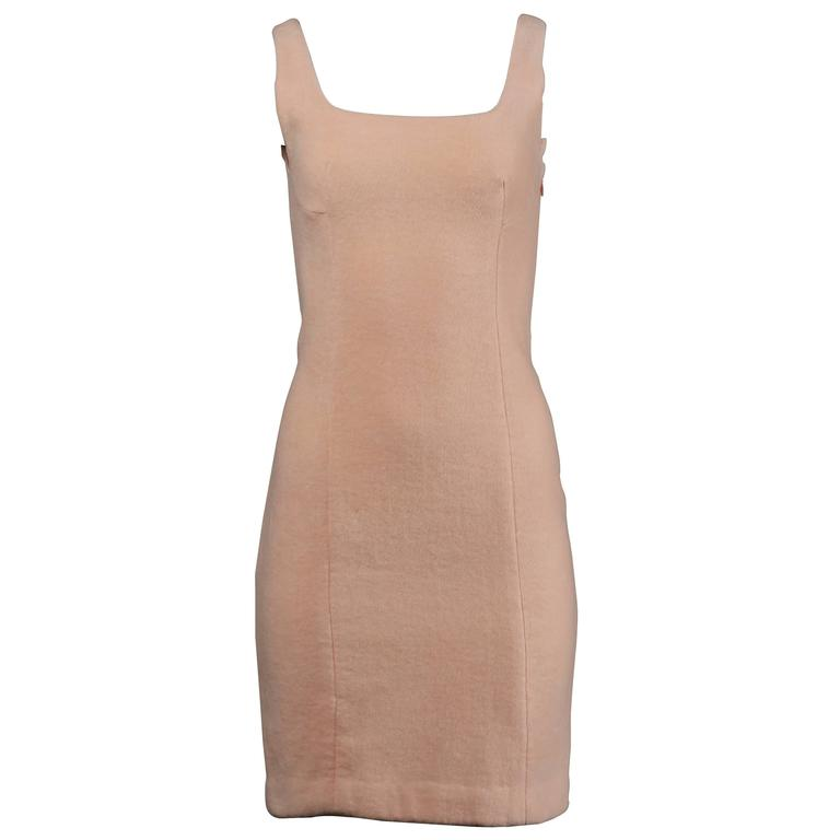 Gianni Versace Couture Vintage 1990s Pale Pink Chenille Body Con Dress