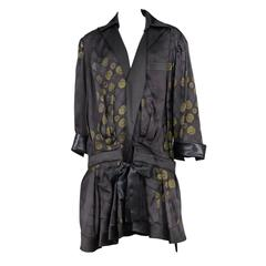 Balenciaga Black Satin Printed Robe Dress 2007