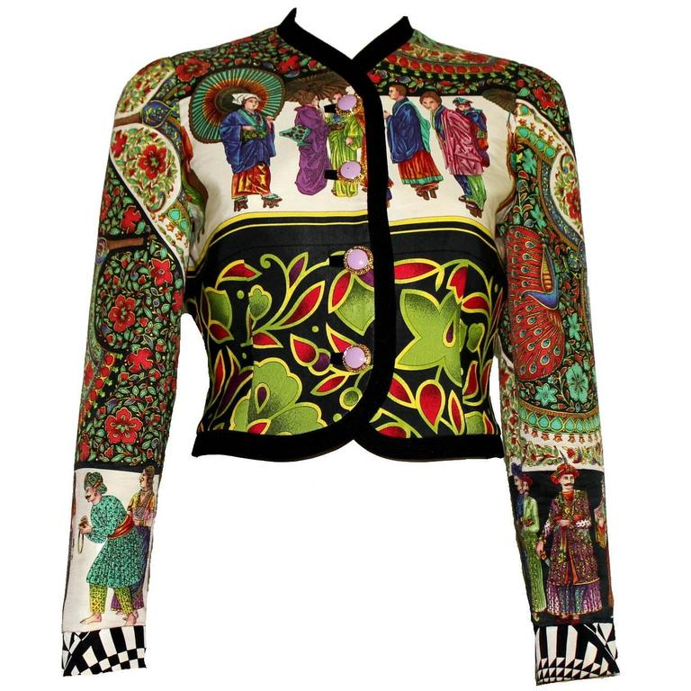Rare 1992 Gianni Versace Couture Printed Silk Jacket 1