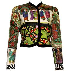 Rare 1992 Gianni Versace Couture Printed Silk Jacket