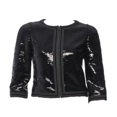 Amazing Chanel Black Sequin Jacket