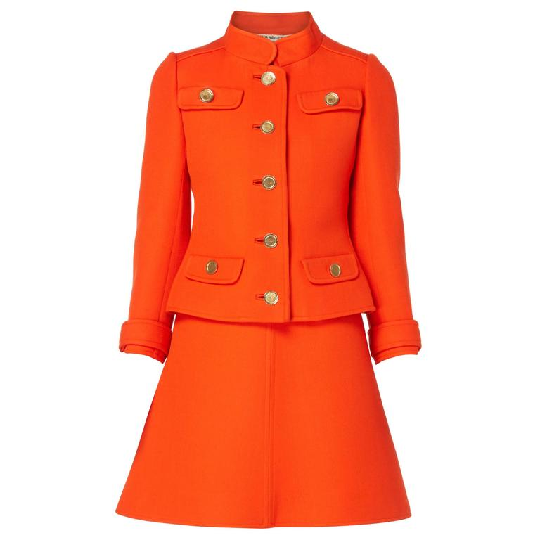 Courr ges haute couture orange dress and jacket circa for Haute couture jacket