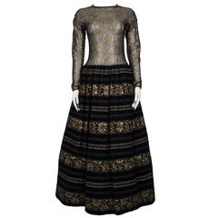 1960's Arnold Scaasi Couture Black Velvet and Gold Lace Gown