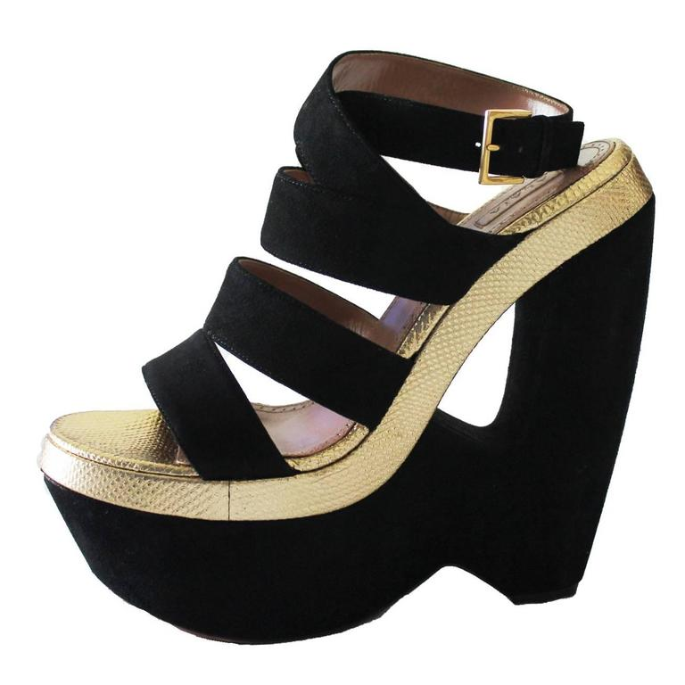 Alaia Black Suede Golden Lizard Skin Cutout Wedges For Sale