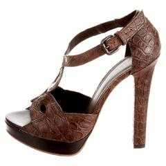 Bottega Veneta Chocolate Brown Crocodile High Heel Sandals