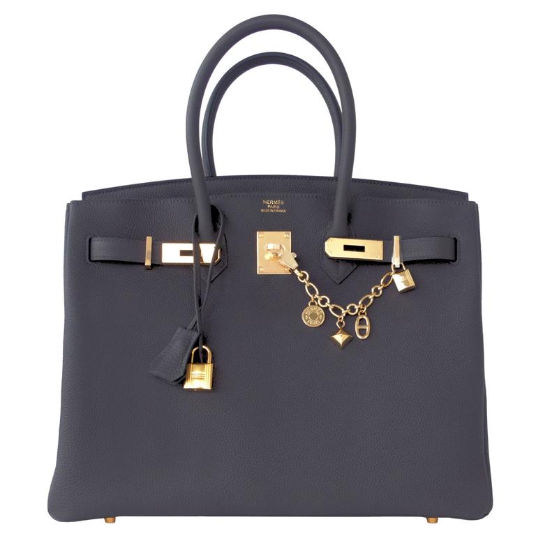 1e6e9d72c2af Hermes Graphite 35cm Togo Birkin Gold Hardware GHW Dark Gray Bag Superb at  1stdibs