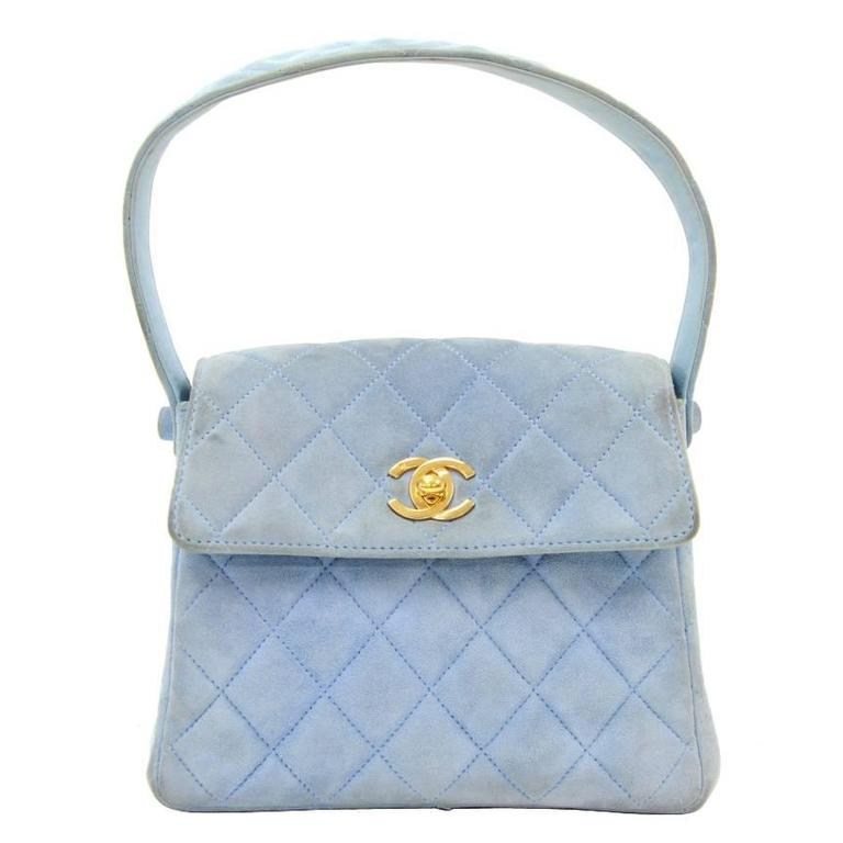Chanel Light Blue Quilted Suede Leather Flap Hand Bag For Sale