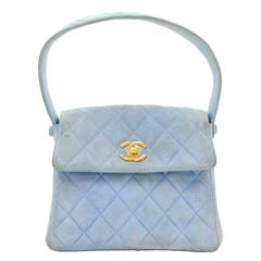 Chanel Light Blue Quilted Suede Leather Flap Hand Bag