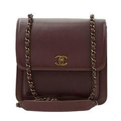 Chanel Burgundy Leather Small Shoulder Flap Bag