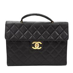 Chanel Black Quilted Caviar Leather Large Briefcase Hand Bag