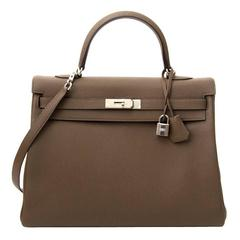 As New Hermes Kelly 35 Taupe PHW