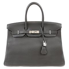 Hermès Gris Elephant Clemence Leather  Birkin- 35 cm, PHW